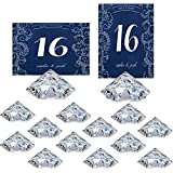 HOHIYA Large Diamond Table Place Card Holder Centerpieces Party Wedding (Clearpack of 12)