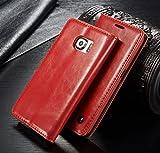 FLY SELINA Galaxy S6 Edge ケース 高級 レザー 手帳型 横開き カバー 革 マグネット式 カード収納 スタンド機能 ギャラクシー S6 エッジ 財布型 カバー 耐衝撃 レッド
