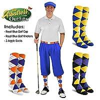 メンズゴルフKnicker Outfit–ロイヤルブルーゴルフKnickers、ゴルフキャップ、3アーガイルソックス