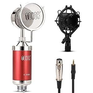 Tonor 高音質 プロ コンデンサーマイク スタジオレコーディング 3.5ミニプラグ 録音 宅録 実況 放送 レッド TN480RE