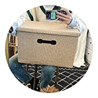 世間の縁 折りたたみ布でカバーベッド服収納ボックス,大きい48 * 32 * 30 cm,わらの原色