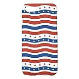 クールな波状の7月4日の赤白青のアメリカ人iPhone7ケース デザイン バック カバー ケース 簡単装着 衝撃吸収 アイフォン7 4.7 インチ おしゃれ