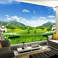 カスタム3D写真の壁紙青空白い雲村の家自然風景壁画不織わらテクスチャ壁画壁紙-130X100Cm