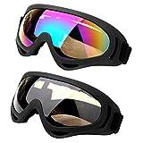スキー ゴーグル サングラス 戸外眼鏡 スノーボード ウィンタースポーツ バイク UVカット 2つ入り (カラフル + グレー)