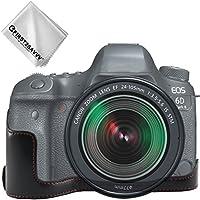 FIRST2SAVVV 黒 キヤノン Canon EOS 6D Mark II . 6D MK 2 専用 PU 半分レザー レフ カメラバッグ カメラケース +クリーニングクロス XJD-6D Mark II-D01
