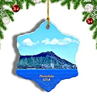 Weekinoアメリカアメリカダイヤモンドヘッドホノルルオアフ島ハワイクリスマスオーナメントクリスマスツリーペンダントデコレーション旅行お土産コレクション陶器両面デザイン3インチ