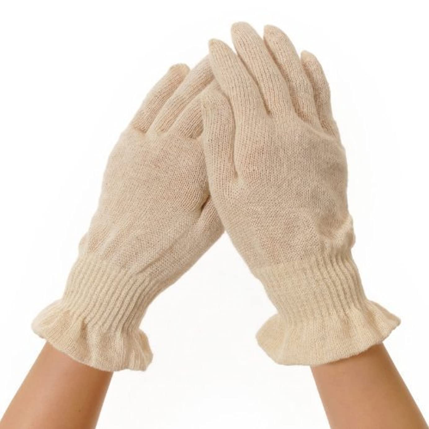 麻福 就寝用 手袋 [寝ている間に保湿で手荒れケア おやすみ手袋] 麻福特製ヘンプ糸 Rサイズ (女性ゆったり/男性ジャストフィット) きなり色 手荒れ予防
