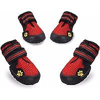 犬の靴 ペット用シューズ ドッグくつ 肉球保護 滑り止め 通気抜群 反射テープ 小中大型犬 4個セット (XS 6.5*5cm, 赤(レッド))