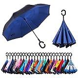 CarBoys 逆転傘 逆さ傘 逆折り式傘 自立傘 長傘 手離れC型手元 耐風 撥水加工 晴雨兼用 ビジネス用 車用 UVカット 遮光遮熱 傘袋/ケース付き(紺色)