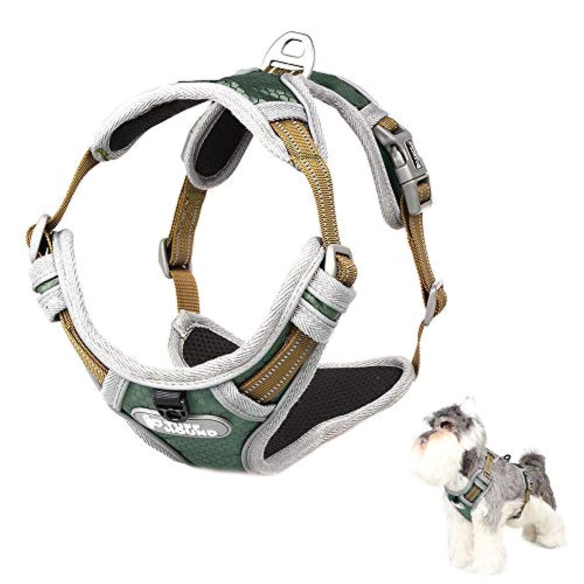 本能ターミナルパパTuff Hound 犬用ハーネス 小型犬 中型犬 大型犬 胴輪 咳き込み軽減 四点調節 反射可 散歩/訓練/出かけ用 (S, オリーブグリーン)