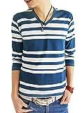 (アーケード) ARCADE 16color メンズ 春 夏 半袖 7分袖 Vネック ボーダー Tシャツ カットソー L ランダムボーダー白×紺(7分袖)