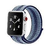 ナイキ ベルクロ Winmy for Apple Watchバンドスポーツループバンド、軽量通気性ナイロン交換バンドApple Watch Nike +、シリーズ1、2シリーズ、シリーズ3、スポーツ、Edition Blue Stripe Win-NLQC-42Blue