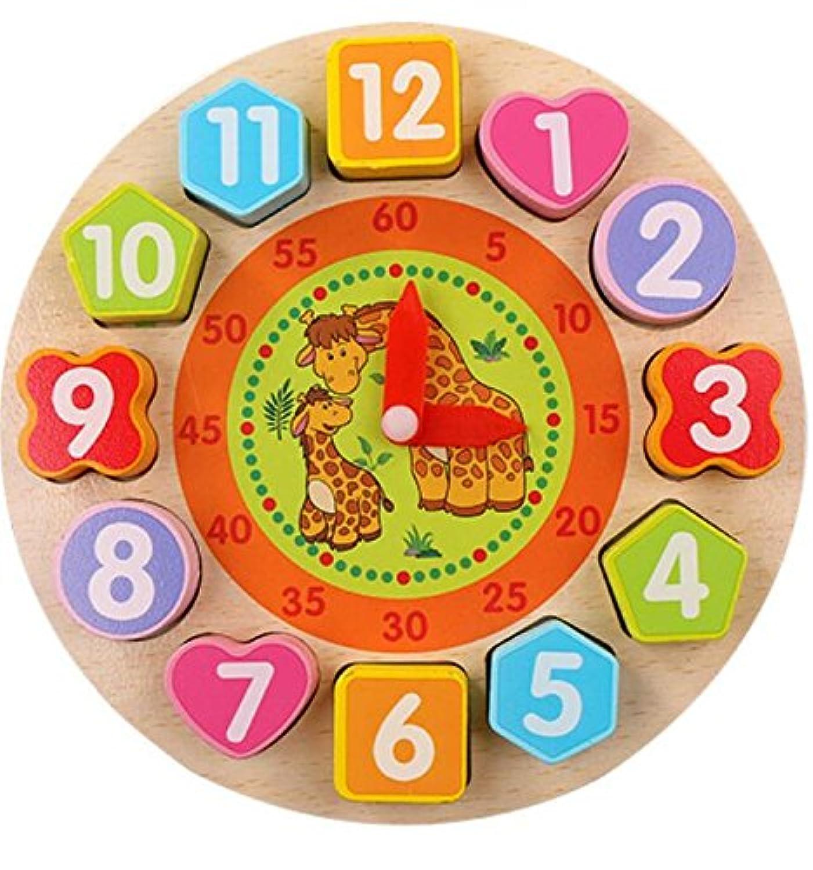 HuaQingPiJu-JP 愛らしい教育木製時計玩具アーリーラーニングタイムナンバーシェイプ子供のための色の動物の認知玩具(ウォーキング)