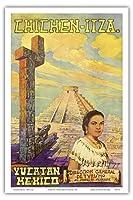 チチェン?イツァ - ユカタン、メキシコ - エルカスティーヨマヤのピラミッド - ビンテージな世界旅行のポスター によって作成された フローレスESPの c.1950s - アートポスター - 31cm x 46cm