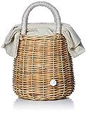 [アジョリー] カゴバッグ リネンリボン×パール付きラタンバスケットバッグ SI-1901A