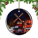 Weekinoフランスムーランルージュパリクリスマスデコレーションオーナメントクリスマスツリーペンダントデコレーションシティトラベルお土産コレクション磁器2.85インチ