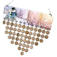 Prettyia 木製カレンダーボード 50枚のディスク 50個のアセンブリフック DIY 手作り 木製 記念日 飾り 5タイプ選べ - タイプ3