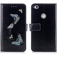 Huawei P8 Lite 2017 レザーケース、Scheam カード収納 カバー 衝撃防止 全面保護 Huawei P8 Lite 2017 スマートフォンケース(Black)