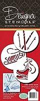 デザイナーステンシルc583冬スポーツクッキーステンシル、そり(、Ice Skates、スキー、ベージュ/半透明
