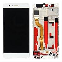 Huawei P9 EVA-L09 フロントパネルタッチパネル 修理交換用タッチパネル ガラス修理液晶パネル 画面修理 (ホワイト+フレーム)