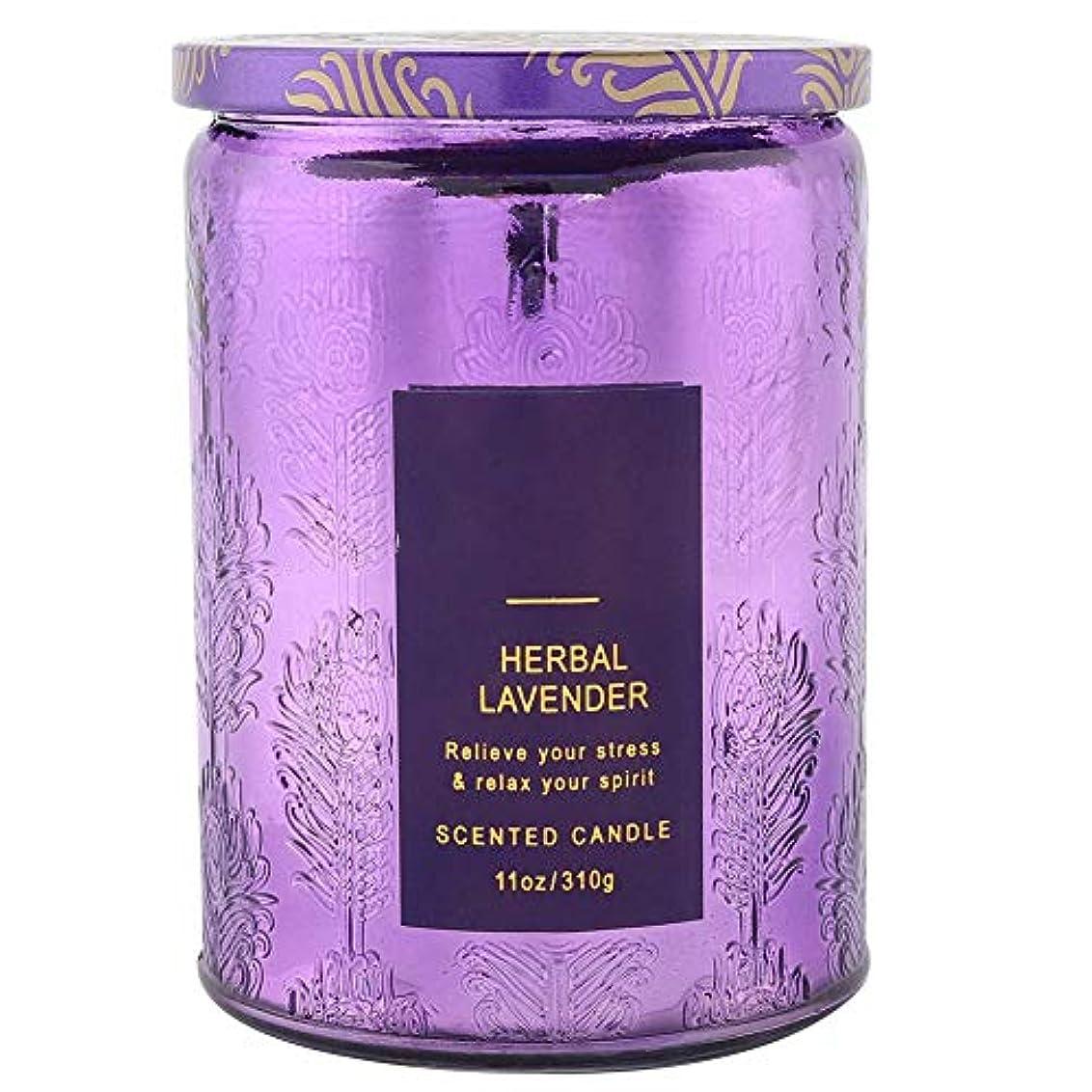 オセアニア光沢のある滑り台ラベンダーの香りのキャンドル、エッセンシャルオイルの香りのキャンドルギフトガラス瓶エッセンシャルオイルキャンドルストレス解消とリラクゼーションスパ