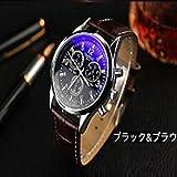 【ACI-AAE】選べる 4 種類 メンズ クロノグラフ 腕 時計 高級 レザー おしゃれ スーツ ベルト ビジネス 軽量 革 ウォッチ シンプル    【 BOX & 時計拭き 付 】 (ブルー&ブラウン)