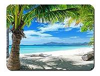 夏のビーチ、砂浜、ヤシの木 パターンカスタムの マウスパッド 海 (22cmx18cm)