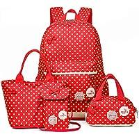 3 Pieces Nylon School Backpack Set Shoulder Bag Polka Dot Bookbags Backpacks Cell Phone Messenger Bags Pencil Case