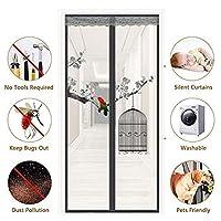 磁気スクリーンドアブラックメッシュカーテン簡単インストールヘビーデューティ蚊飛ぶアウトフィットほとんどのドアサイズフルフレームフック&ループパティオドア,Inkpainting,85x210cm