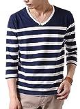 (アーケード) ARCADE メンズ 先染めボーダー Tシャツ 春 夏 Vネック 半袖 7分袖 カットソー S (七分袖)2-紺×白-パネルボーダー