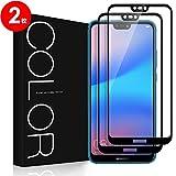 Huawei P20 Lite フィルム[2枚], G-Color Huawei P20 Lite ガラスフィルム 強化ガラス 2.5Dラウンドエッジ加工 99% 透過率 光沢 スムースタッチ HUAWEI P20 lite / au Huawei P20 lite HWV32 対応 (ブラック)