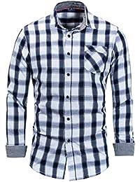 Keaac メンズクラシックスリムロングスリーブボタンダウンチェックドレスシャツ