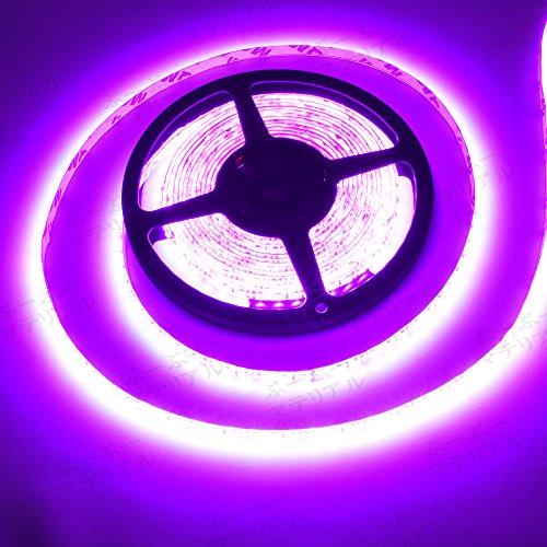 ぶーぶーマテリアル LEDテープ ピンク 紫 600連 高輝度 5m 12V 白ベース 防水 IP65 【カーパーツ】