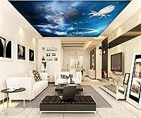 Yosot 3Dの天井の壁画壁紙カスタムフォト不織ペガサス旅行宇宙絵画リビングルームのための 3Dの壁の壁画の壁紙-300Cmx210Cm