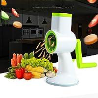 多機能ドラム式手動野菜シュレッダーデバイス ラウンドマンドリンスライサー 野菜カッター キッチンツール ホワイト