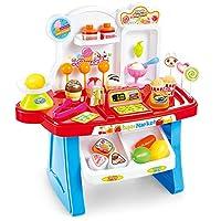 ACHICOO シミュレーションミニスーパーマーケットキャッシャーベンダーのストールプレイハウス音楽玩具 子供たち多機能玩具 ブルー