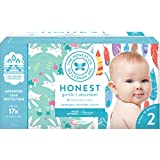 The Honest Company Club Box Diapers with TrueAbsorb Technology, Painted Feathers and Bunnies, Size 2, 76 Count