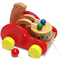 Carejoyのクリエイティブ教育玩具BearドラムソリッドBeech Wood Pull Toys for Kids