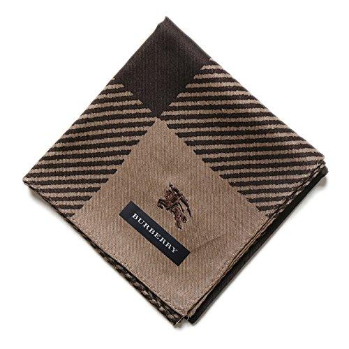 バーバリー ロゴ入りハンカチ ブラウン系 メンズ 小物でオシャレを 34214