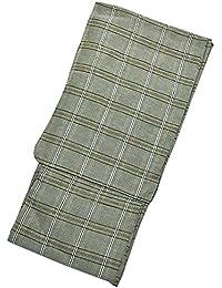 [ 京都きもの町 ] 男性 綿麻浴衣 単品 グリーン格子縞