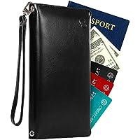 Bifold Travel Slim RFID Wallet Passport Leather Holder for Women with Bonus Shoulder Strap