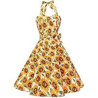 Topdress Women'sVintage Polka Audrey Dress 1950s Halter Retro Cocktail Dress