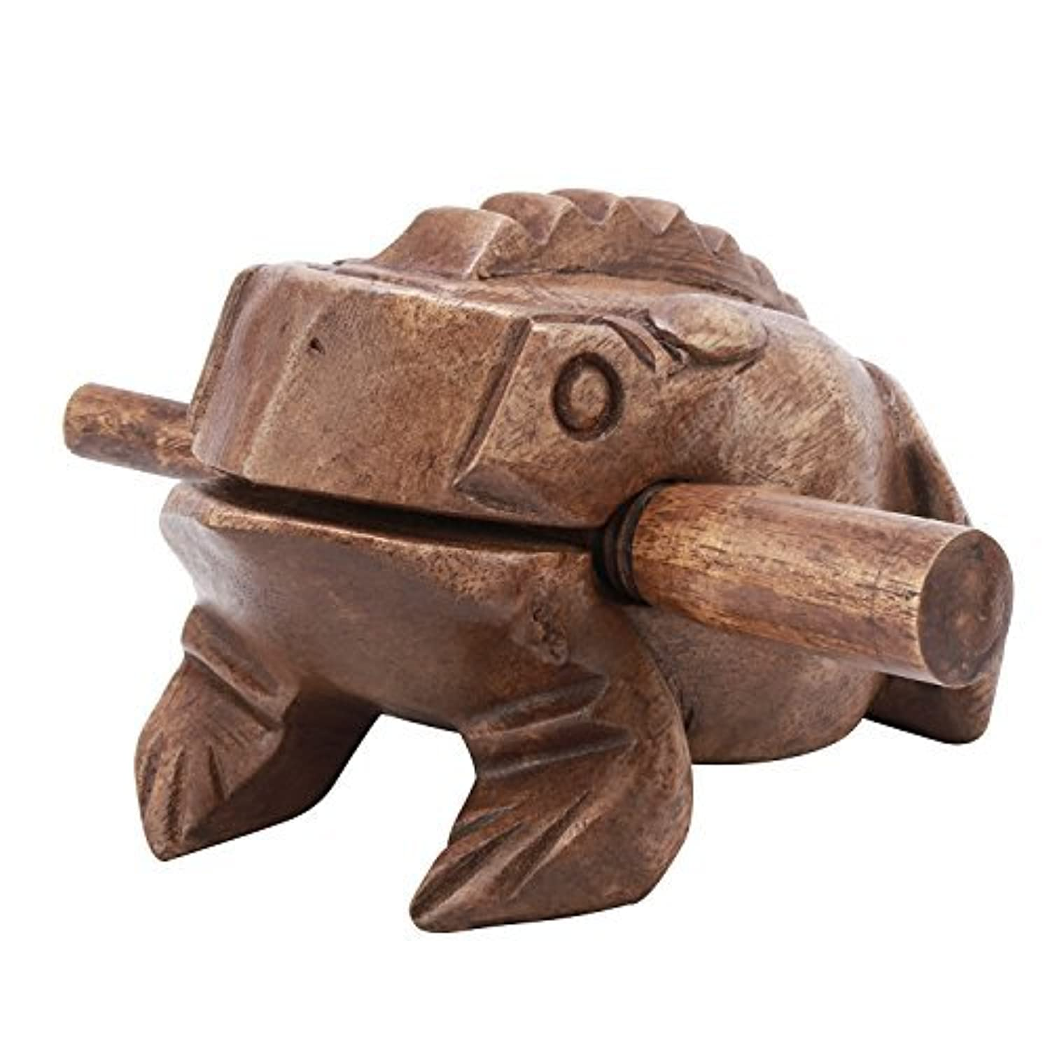 Moukey Handcraft Wooden Frog Guiro Percussion Frog Croaking Ribbit Wooden Block Musical Instrument Large Size 6 inch [並行輸入品]