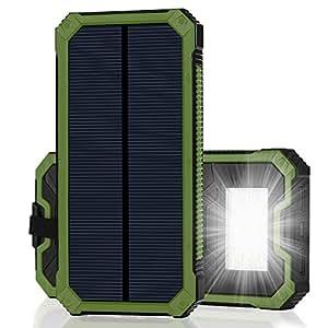 15000mAh大容量 iPhone充電器 モバイルバッテリー ソーラーチャージャー 2USB充電ポート 2つの充電方法 フック付き 緊急防災用 iPhone7 iPad Android Xperia Galaxy等に対応 旅行 キャンプ アウトドアに大活躍(グリーン)
