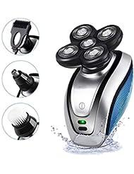男性用電気シェーバー、男性用電気かみそりBal頭シェーバーロータリーコードレスバリカン鼻毛トリマー防水USB充電式4Dフローティング5カミソリヘッド付き(アダプターは含まれていません)