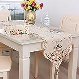 SODIAL 新しいテーブルランナー刺繍花テーブルクロス パターン:#2 フラワーサイズ:40X150cm