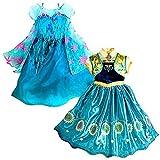 アイキーパー(Eyekepper) プリンセスドレス 誕生日 プレゼント パーティー ドレス コスプレ ガールズ コスチューム 子供 女の子 娘 可愛い ワンピース 2-9歳 2枚セット(イエロー1枚+ブルー1枚) 150cm