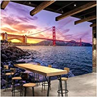 Mingld カスタムポスター壁紙壁画橋建物風景美しい夕日写真壁紙壁画リビングルームソファ寝室の背景-250X175Cm