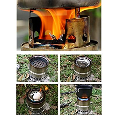 Camping Stove, Portable Lightweight Stainless Steel Wood Burning Stove Easy Fuel with Twigs Leafs Compact Gasifier Stove for Hiking