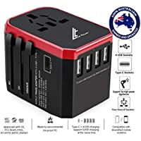 LE TILLAY Universal Travel Adapter 5.6A (MAX) - High Speed 2.4A - 4 USB and 1 Type-C for AU US EU UK - International Power Adapter - Universal Travel Adapter - Worldwide All in One Plugs Converter Smart Charger AC Power Wall Plug for Worldwide 150+ Countries like Europe Asia Japan Australia Middle East India Israel Germany France Italy India Africa China Russia American British European Adapter (RED)